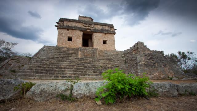 vídeos de stock, filmes e b-roll de intervalo de tempo: dzibilchaltun ruínas - yucatán