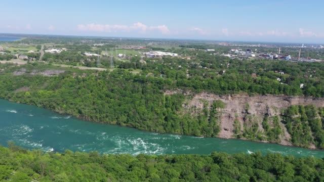 e2-6aerial upper whirlpool trails and niagara river view, niagara falls, ontario, canada - niagara falls city new york state stock videos & royalty-free footage