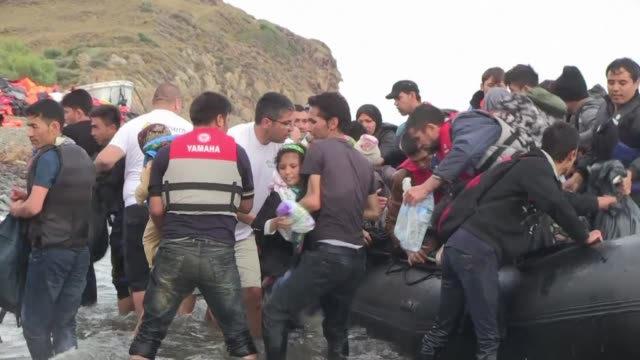 each day around four thousand migrants are arriving by boat to the greek island of lesbos according to a rescue worker who is among those helping... - rescue stock videos & royalty-free footage
