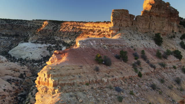 eagle canyon, utah at dusk - drone shot - san rafael swell stock videos and b-roll footage