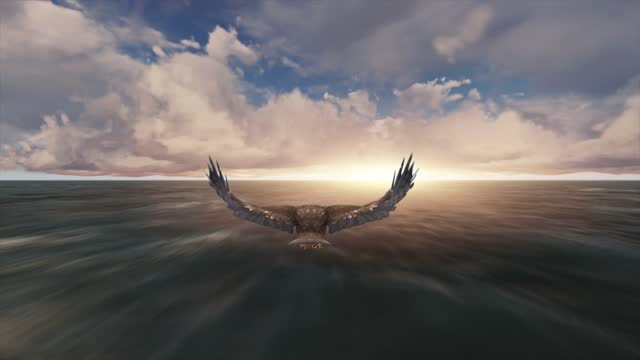 eagle flying animation on clouds. the concept of animal, wildlife, games, 3d animation, short video, film, cartoon, sky, landscape, character animation, design element - falcon bird stock videos & royalty-free footage
