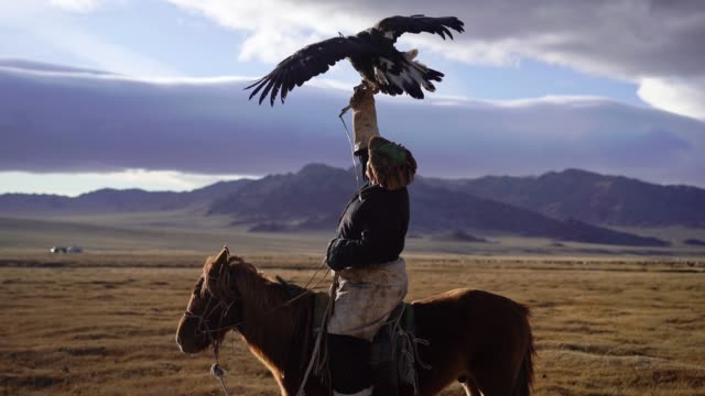 eagle hunter on horse in desert in mongolia - independent mongolia stock videos & royalty-free footage