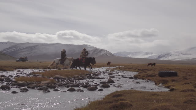 eagle hunters riding horses with golden eagles - altai mountains, mongolia - mongolia video stock e b–roll