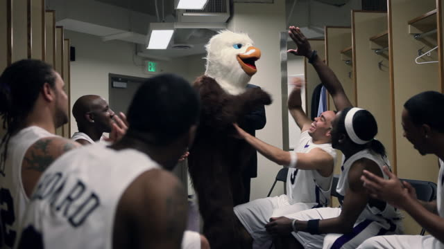 vidéos et rushes de ms eagle mascot and professional basketball team with coach in locker room running out to game / washington, usa - visage caché