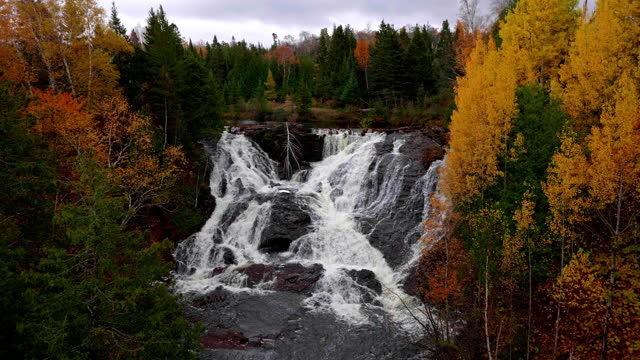 eagle river water falls in late fall in michigans upper peninsula - upper peninsula stock videos & royalty-free footage