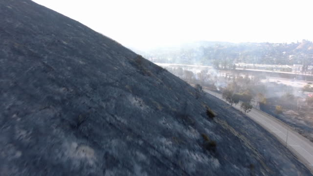 eagle rock, ca, u.s. - aerial views of aftermath of brush fire on monday, august 26, 2019. - burnt stock videos & royalty-free footage