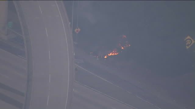 ktla eagle rock ca us aerial views of brush fire and evacuations in glendale on sunday august 25 2019 - glendale california stock videos & royalty-free footage