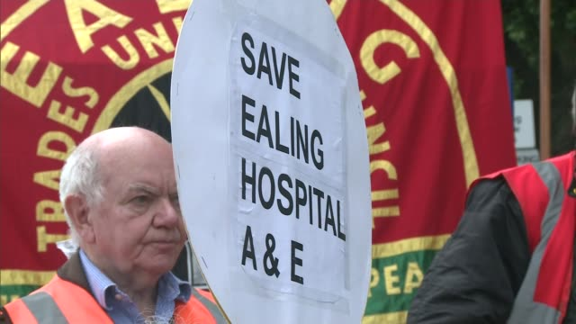 ealing hospital unit closure comes under fire england london ealing ext tony o'sullivan close to tears as addresses group of protesters sot its sad... - closed stock videos and b-roll footage