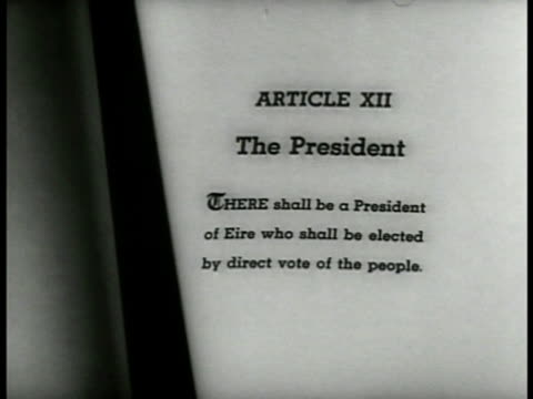 stockvideo's en b-roll-footage met eamon de valera amp cabinet in meeting cu republic of eire constitution article xii 'the president' sot eamon de valera 'present irish government was... - 1937
