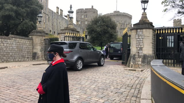 """earl and countess of wessex arrive at windsor castle to visit the queen following the death of prince philip, duke of edinburgh - """"bbc news"""" stock videos & royalty-free footage"""