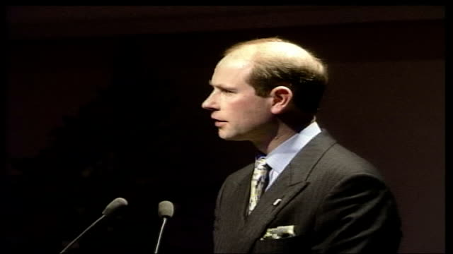 earl and countess of wessex at duke of edinburgh's award south west regional conference; england: weston-super-mare: winter gardens: int side pull... - prince edward, earl of wessex stock videos & royalty-free footage