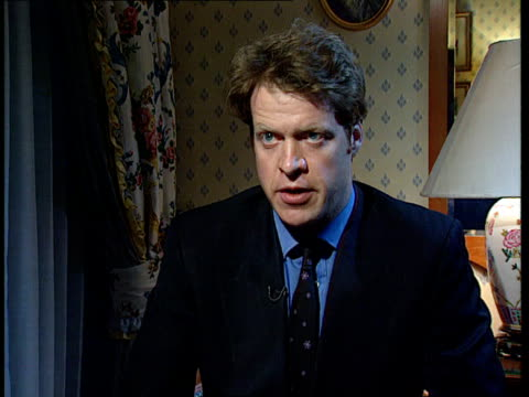 earl spencer libel damages:; england: london: lap: int cms earl spencer intvwd sot - some newspapers will try to attack my sister through her... - 文書による名誉棄損点の映像素材/bロール
