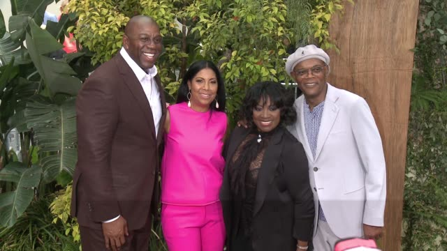 Earlitha Kelly Magic Johnson Samuel L Jackson at Premiere Of Warner Bros Pictures' The Legend Of Tarzan in Los Angeles CA