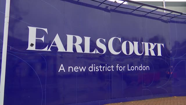 earls court council estate under threat from property developers; england: london: earls court: ext hoardings for earls court 'a new district for... - earls court stock videos & royalty-free footage