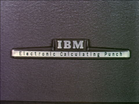 """early 1950s close up logo on machine - """"ibm electronic calculating punch"""" - punch card reader stock videos & royalty-free footage"""