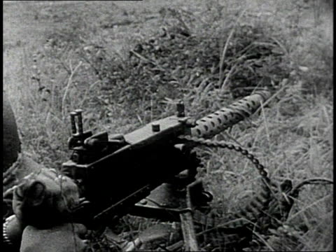 early 1950s montage us army soldiers firing rifles and machine guns / south korea - korean war stock videos & royalty-free footage