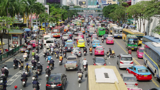 Early Afternoon traffic on Rachadamri Street, Bangkok, Thailand