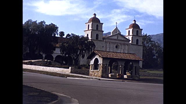 early colour views of santa barbara including the mission church and el paseo restaurant 1939 - santa barbara california stock videos & royalty-free footage