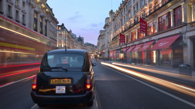 Early evening view of Regent Street and the Hamleys toy store