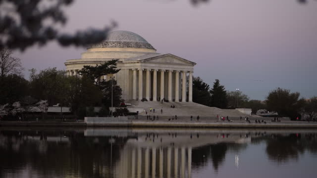 early evening view of the jefferson memorial in washington, dc. - jefferson memorial stock videos and b-roll footage