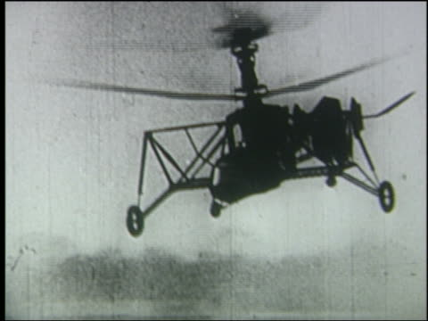 vidéos et rushes de b/w 1936 pan early helicopter flying - 1936