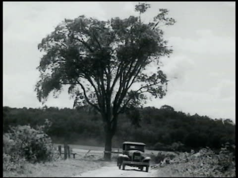 vidéos et rushes de speeding early model car driving fast on curved country dirt road bicycling male falling off bicycle car speeding across country back road - 1935
