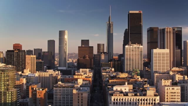 early morning in downtown los angeles - drone shot - financial district stock videos & royalty-free footage
