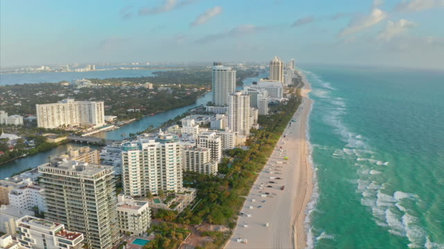 early morning in miami beach - panoramic stock videos & royalty-free footage
