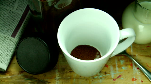 Early morning instant coffee to start the day