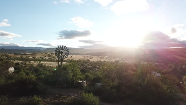 Early morning Karoo Landscape with windmill