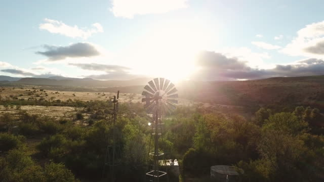 early morning karoo landscape with windmill - the karoo stock videos & royalty-free footage