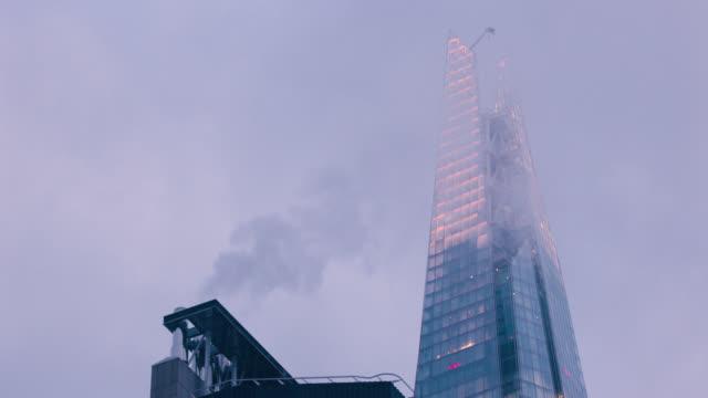 early morning london skyline - shard london bridge stock videos & royalty-free footage