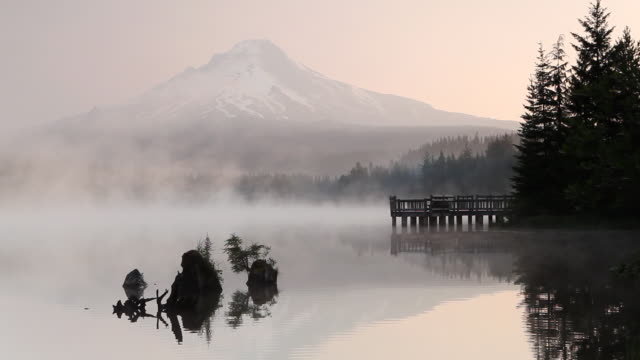 hd early morning mt. hood - mt hood stock videos & royalty-free footage
