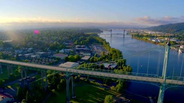 Early morning sun at St. Johns Bridge and Cathedral Park in Portland Oregon