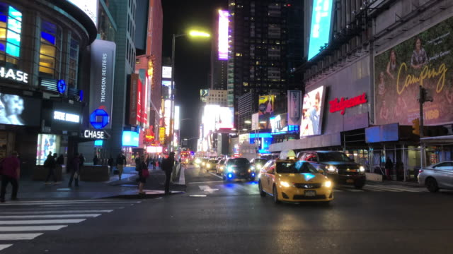 early morning traffic in times square area in new york city - theatre district stock videos & royalty-free footage