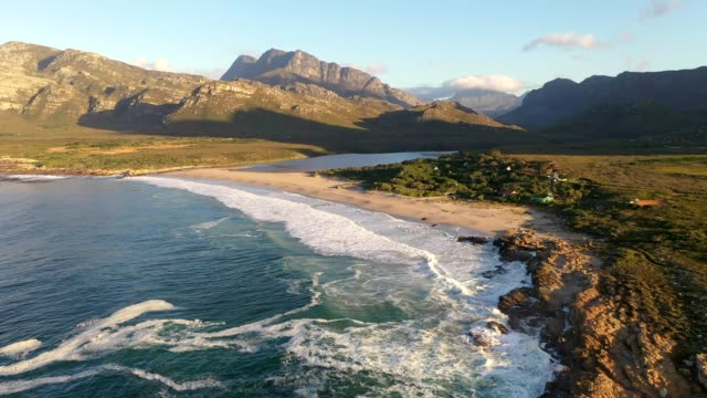 early morning video over the cape coastline near kleinmond - cape town stock videos & royalty-free footage