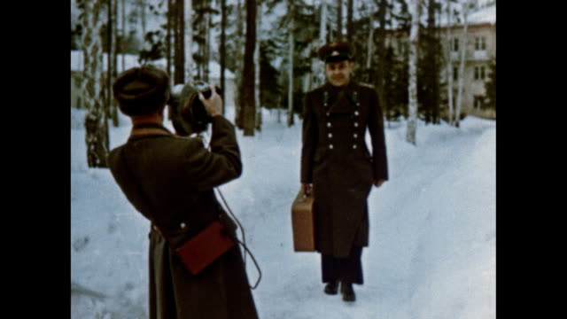 early soviet cosmonauts experiment with movie cameras and editing - ehemalige sowjetunion stock-videos und b-roll-filmmaterial