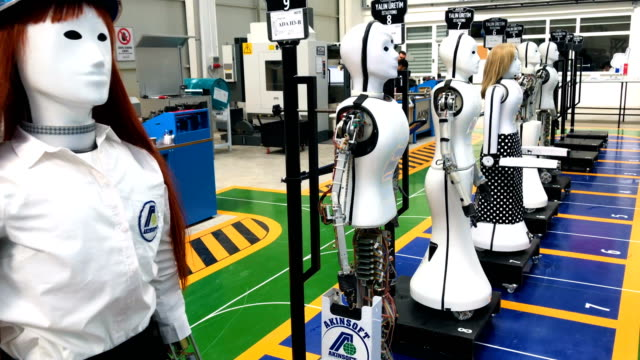 early test robots are seen on display at the akin robotics factory on march 15 2018 in konya turkey akin robotics is turkey's first humanoid robotics... - konya stock videos and b-roll footage