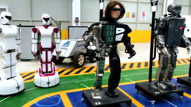 Early test robots are seen on display at the Akin Robotics factory on March 15 2018 in Konya Turkey Akin Robotics is Turkey's first humanoid robotics...
