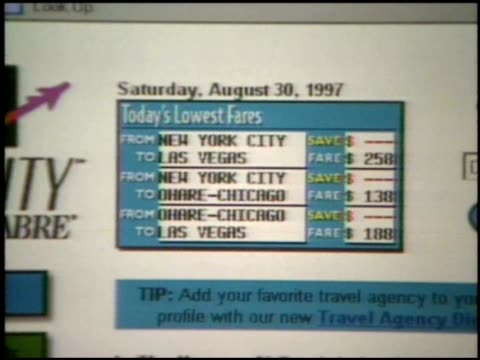 Early Travelocity Website interface and interaction
