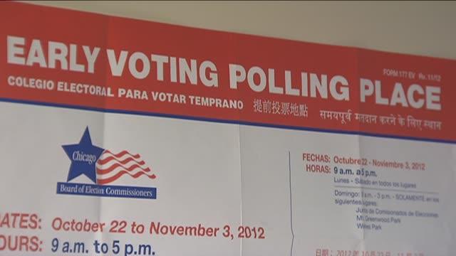 vídeos de stock e filmes b-roll de early voting signs on november 03 2012 in chicago illinois - urna eleitoral