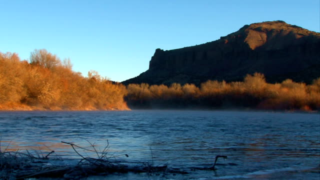 early winter morning on the rio grande - santa fe new mexico stock videos & royalty-free footage