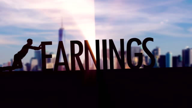 earnings  - businessman silhouette pushing thematic title - making money stock videos & royalty-free footage