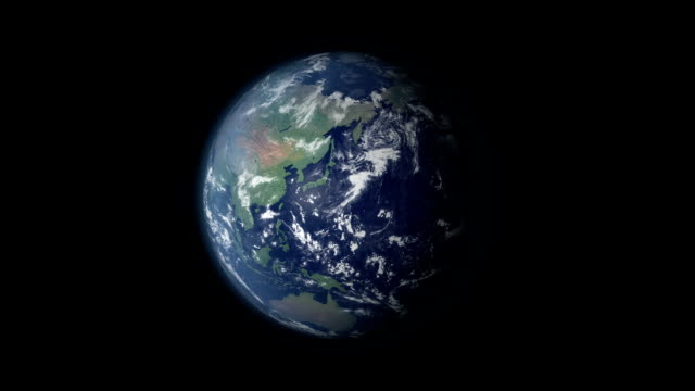 Earth 360 rotation and zoom centered on Russia