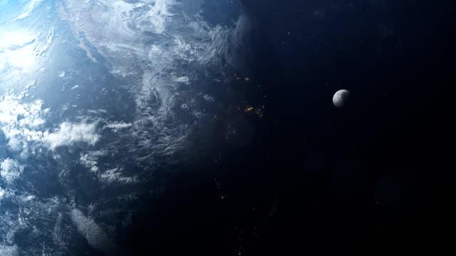 vídeos de stock e filmes b-roll de earth and moon seen from space. nasa public domain imagery - lua