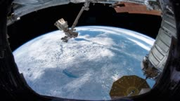 Earth as seen through window of International Space Station ISS . Elements of this image furnished by NASA.