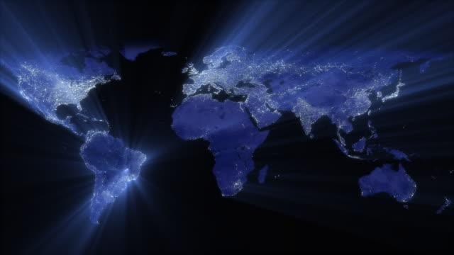 terra di notte (loop - planisfero video stock e b–roll