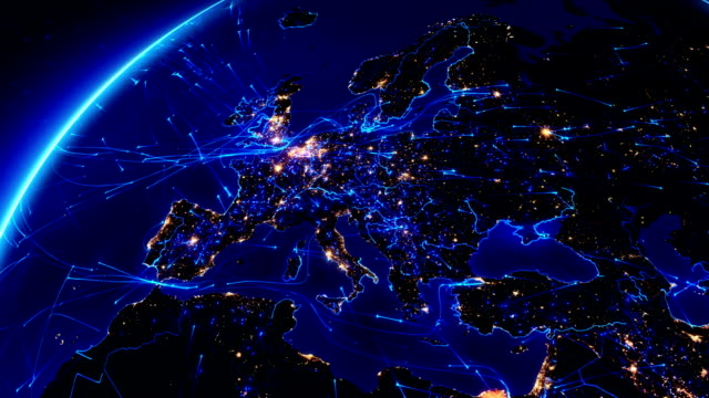 earth connections. europe. aerial, maritime, ground routes and country borders. - global communications stock videos & royalty-free footage