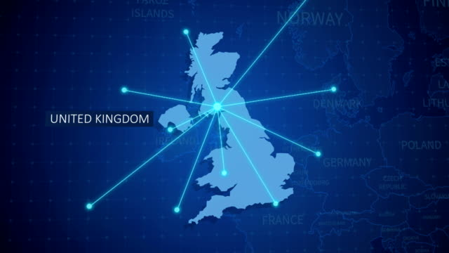 earth connections. uk map. aerial, maritime, ground routes and country borders - map stock videos & royalty-free footage