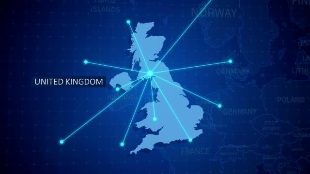 vídeos de stock, filmes e b-roll de conexões de terra. mapa do reino unido. rotas aéreas, marítimas, terra e fronteiras do país - reino unido
